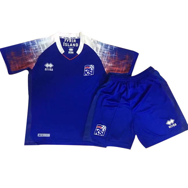 Iceland 2018 World Cup Home Kids Soccer Kit Children Shirt And Shorts