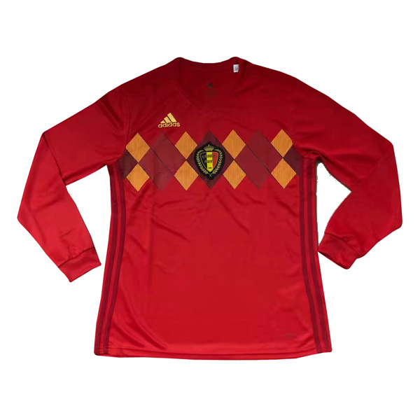 6ea067fb1 Belgium 2018 FIFA World Cup Home Long Sleeved Shirt Soccer Jersey