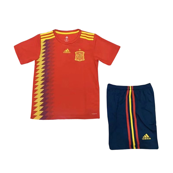 Spain 2018 FIFA World Cup Home Kids Soccer Kit Children Shirt And Shorts