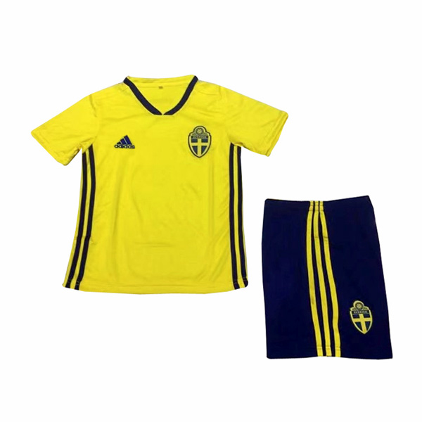 Sweden 2018 FIFA World Cup Home Kids Soccer Kit Children Shirt And Shorts